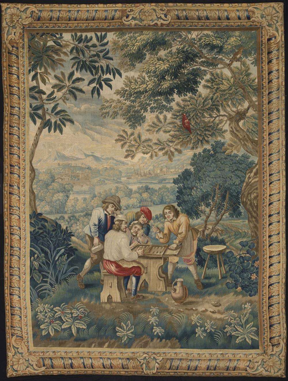 Галерея De Wit Fine Tapestries на BRAFA 2016, шпалера «Игроки в нарды», ок 1720 г.