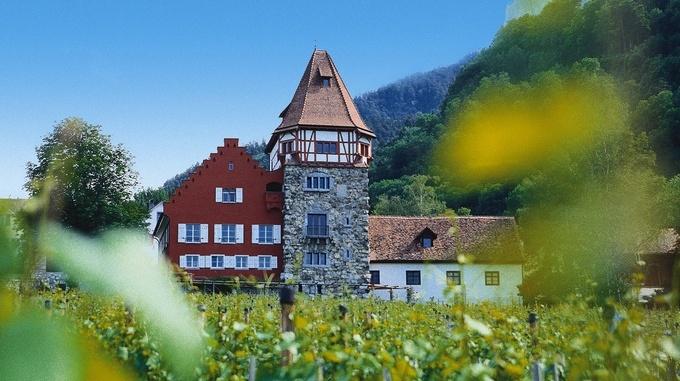 Красный дом, одна из главных достопримечательностей Вадуца. Дом был построен швейцарскими монахами и существенно изменил свой облик благодаря художнику Эгону Райнбергеру