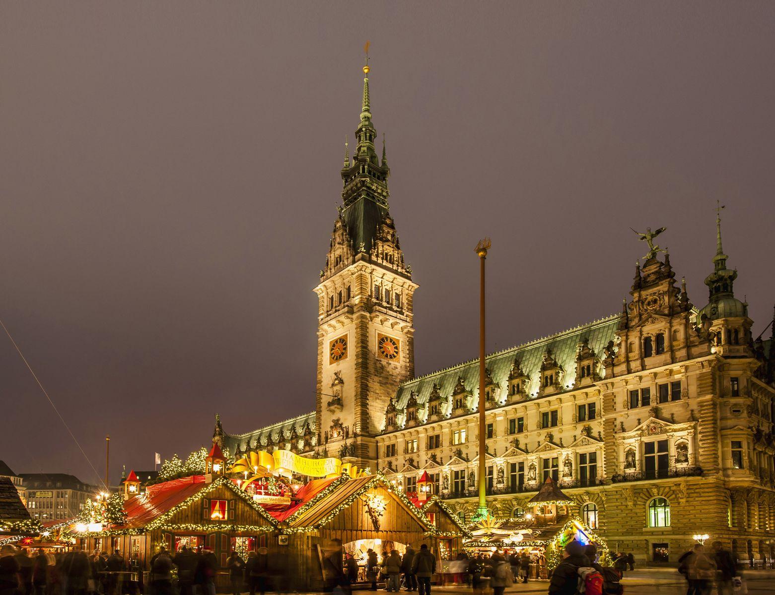 Обои дома, гамбург, германия, ночь, башня, кран. Города foto 18